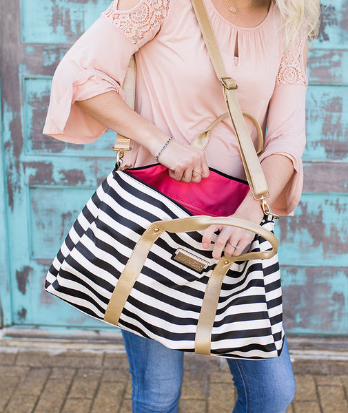 white elm duffel tote bag laurel stripes striped black white gold vegan leather watermelon berry lining