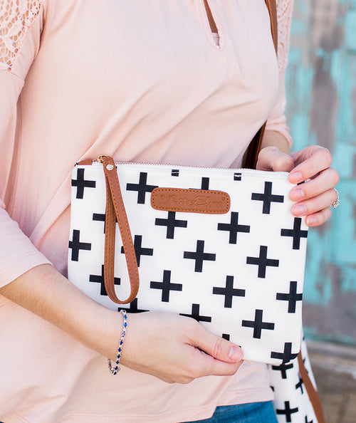 white elm black crosses clutch handbag bag canvas waterproof vegan leather held