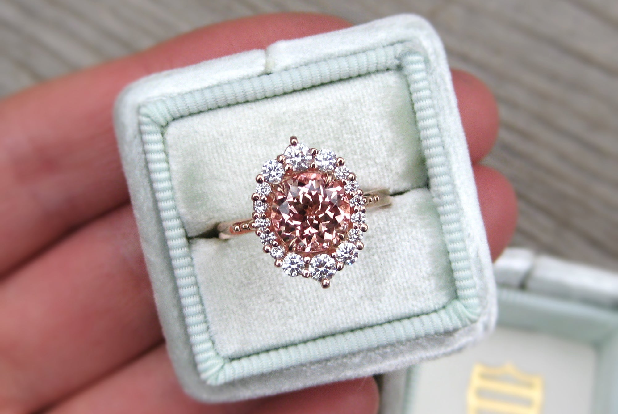 sapp vintage peach emerson ring rings created diamond engagement products in gold kristin dia rose champagne profile sapphire side low lab halo