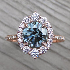 Blue-Grey Moissanite Diamond Halo Engagement ring