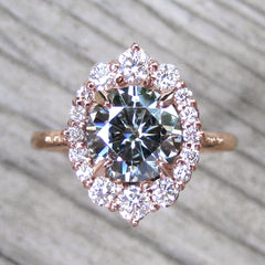 Grey Moissanite Engagement Ring with Diamond Halo in rose gold