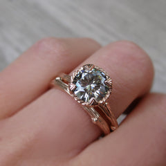 1.5ct Natural Grey Moissanite Twig Engagement Ring by Kristin Coffin Jewelry