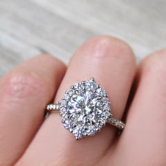 Lab Grown Diamond Halo Engagement Ring in Platinum - Kristin Coffin Jewelry