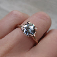 1.25ct Natural Grey Moissanite Twig Engagement Ring by Kristin Coffin Jewelry