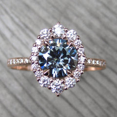 Dark Grey Moissanite Engagement Ring with Diamond Halo and Pavé Band | Kristin Coffin Jewelry