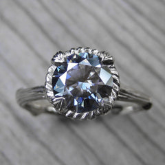 Dark Grey Natural Grey Moissanite Twig Engagement Ring by Kristin Coffin Jewelry