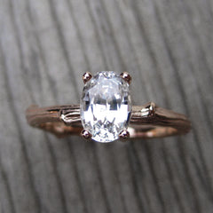 Oval White Sapphire Twig Engagement Ring
