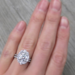 2ct Hearts & Arrows Moissanite Halo Engagement Ring with Pavé Band
