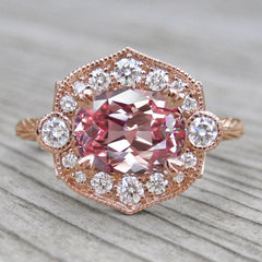 Peach Pink Oval Sapphire Halo Engagement Ring