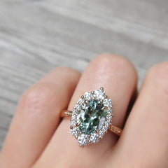 Seafoam Green Aquamarine Diamond Halo Engagement Ring