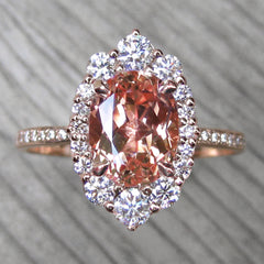 Oval Peach Sapphire Diamond Halo in rose gold