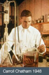 Carrol Chatham, founder of Chatham Gems, in his lab in 1948