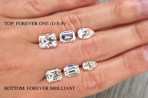 Forever One vs. Forever Brilliant Moissanite Compared: Radiant, Emerald, and Pear Cuts