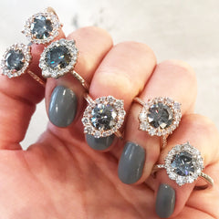 Grey Iconic Moissanite Emerson Halo rings