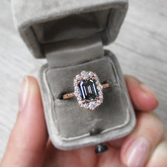 Emerald Cut Iconic Grey Moissanite Halo Ring in Rose Gold
