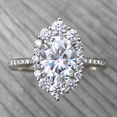 Oval Conflict-Free Diamond and Moissanite Halo Ring in White Gold