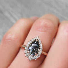 Pear Grey Iconic Moissanite with Diamond Halo, Celeste Ring from Kristin Coffin Jewelry