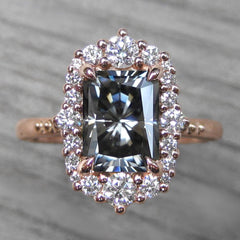 Radiant Cut Iconic Grey Moissanite Halo Ring in Rose Gold