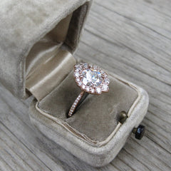 The Emerson | Vintage-Inspired Conflict-Free Diamond Halo Ring in Rose Gold