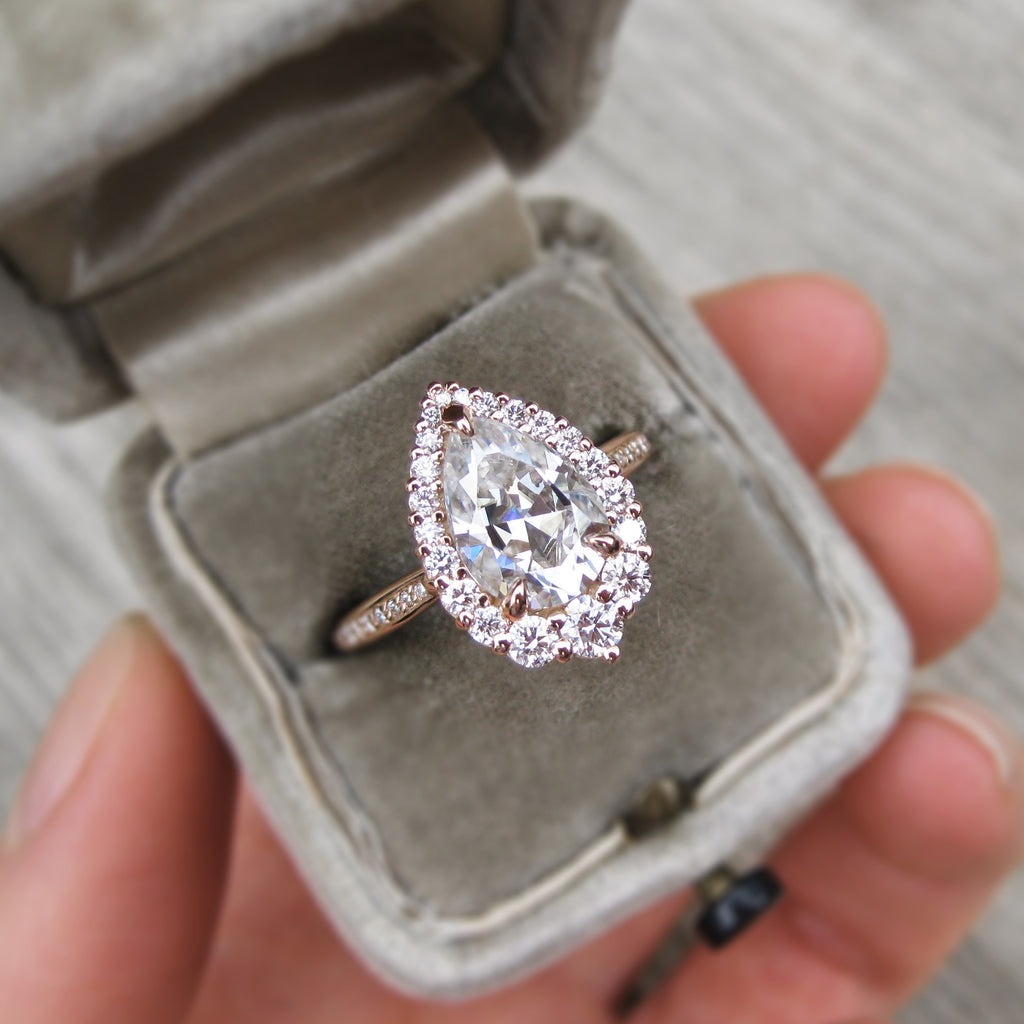 Pear Cut Moissanite Ring in 14k rose gold, conflict-free