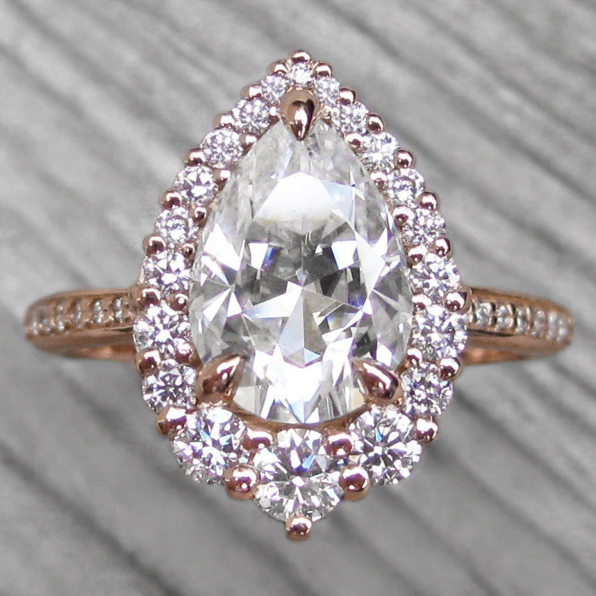 Pear Moissanite halo ring, rose gold, pavé diamonds