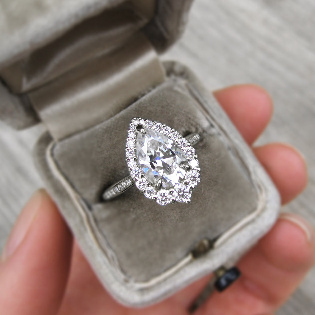 Pear Cut Platinum antique-inspired ring