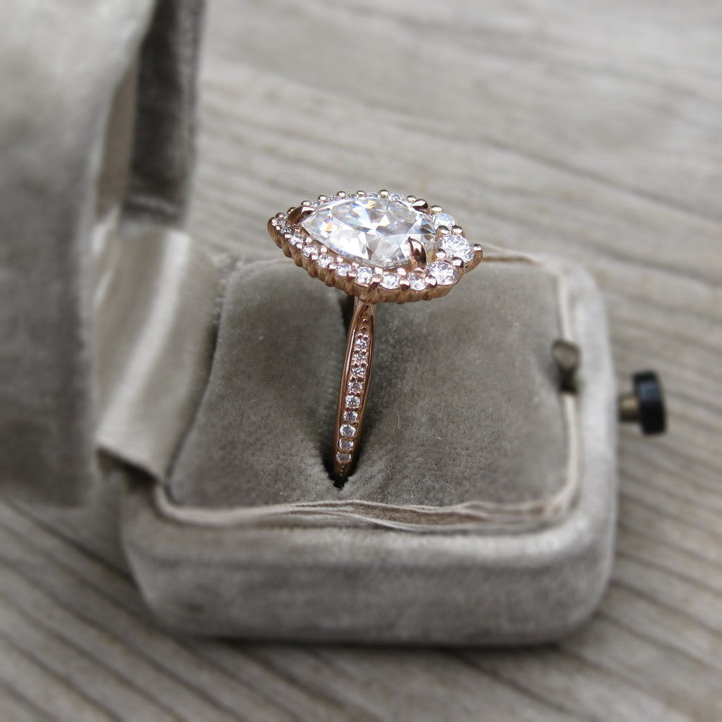 Pear Halo antique engagement ring, side view, rose gold
