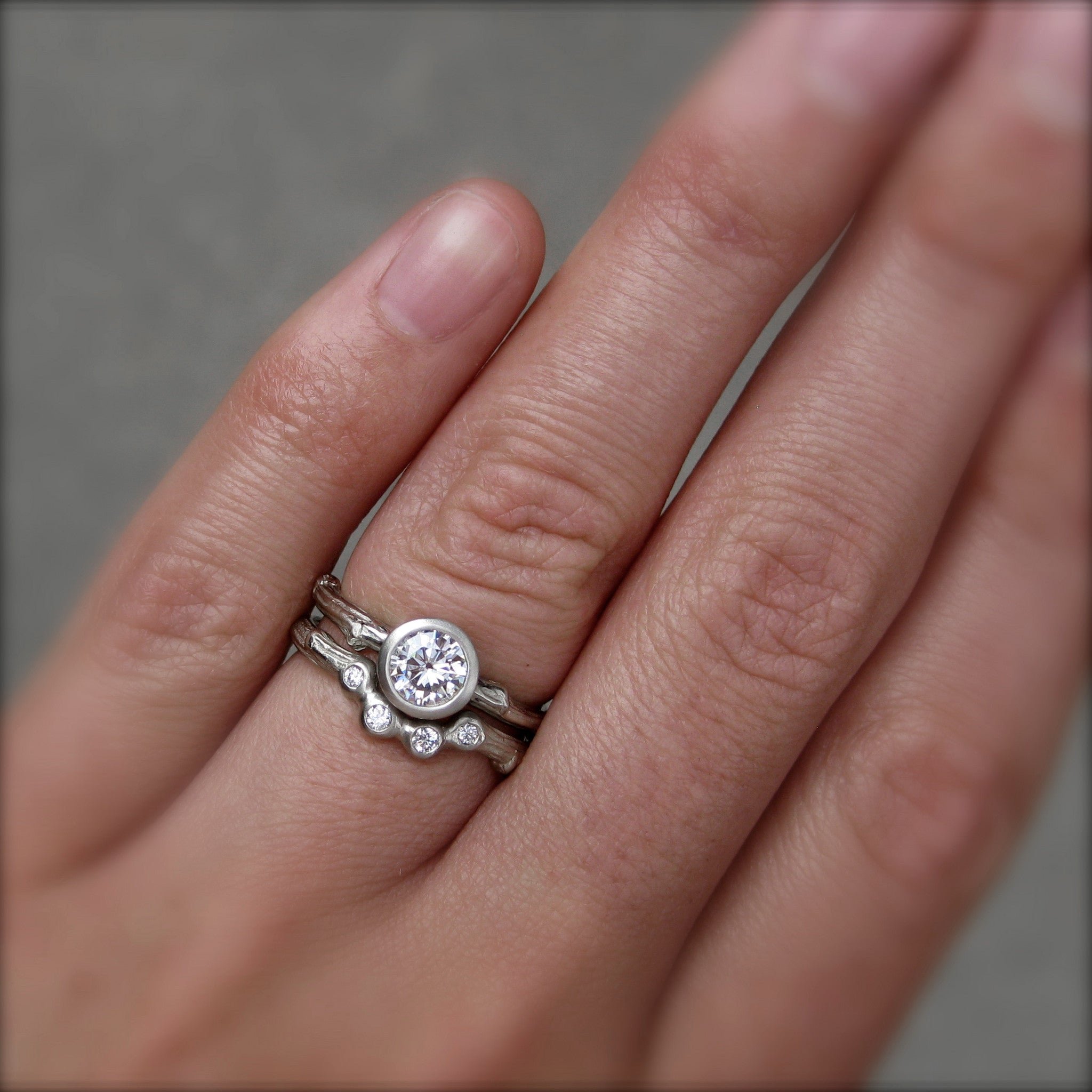 moissanite twig engagement ring diamond arc wedding ring set - Wedding Band Engagement Ring