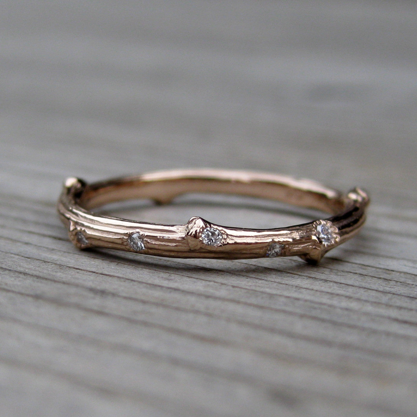 scattered diamond twig band leaf wedding band - Leaf Wedding Ring