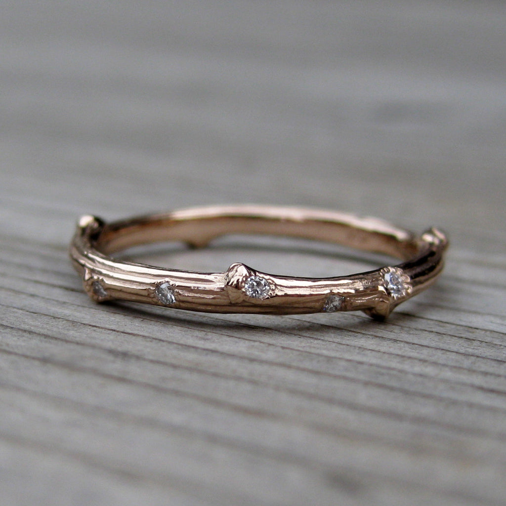 Scattered Diamond Twig Band + Leaf Wedding Band