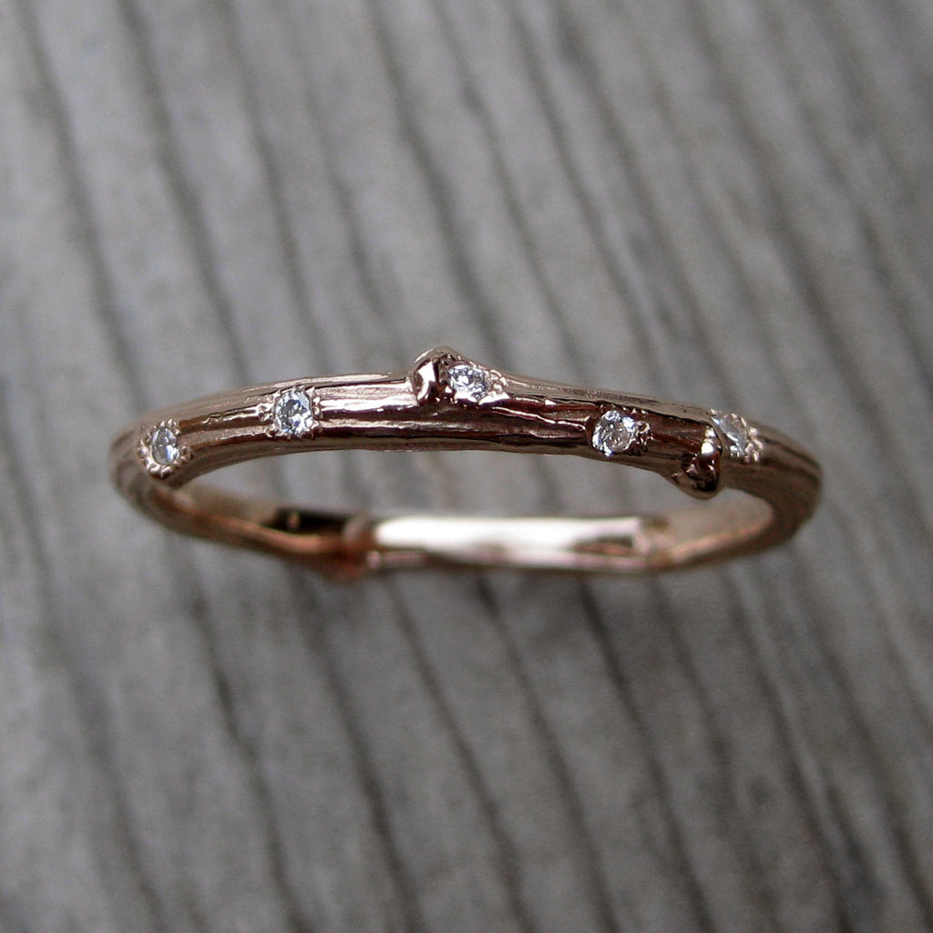 Scattered Diamond Eternity Twig Wedding Band (Eleven Diamonds)