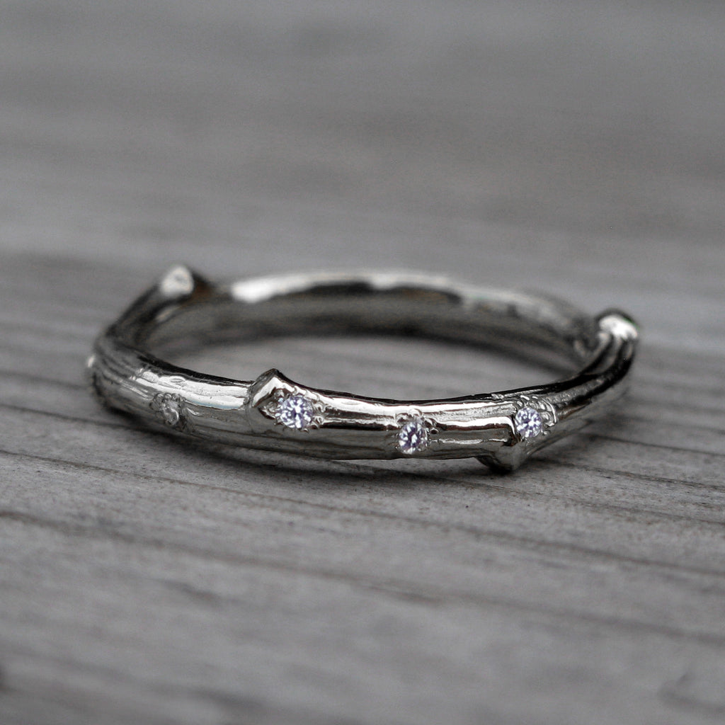 Scattered Diamond Twig + Feather Wedding Band