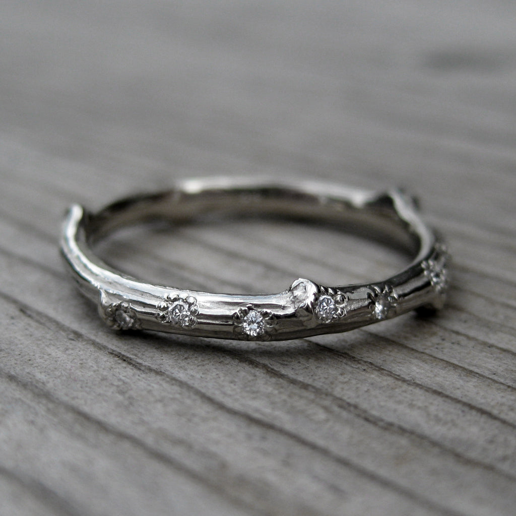 Forever One™ Moissanite Twig Engagement & Scattered 7 Diamond Band
