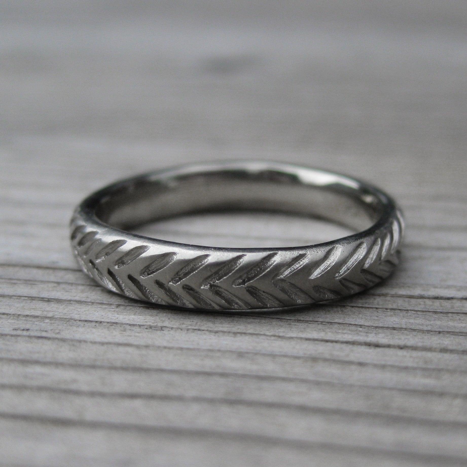 Feather Wedding Band Set Recycled Gold