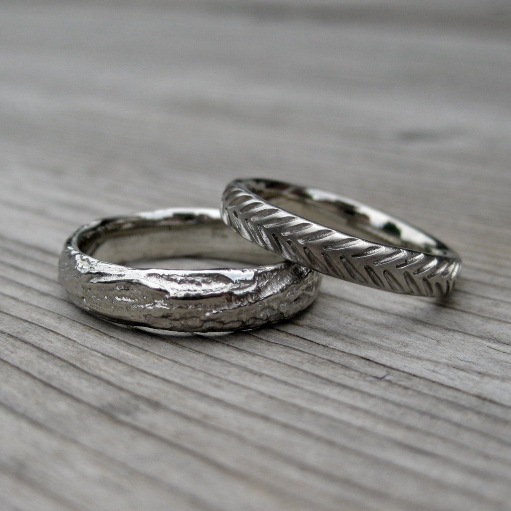 Feather Band + Wide Branch Wedding Band Set