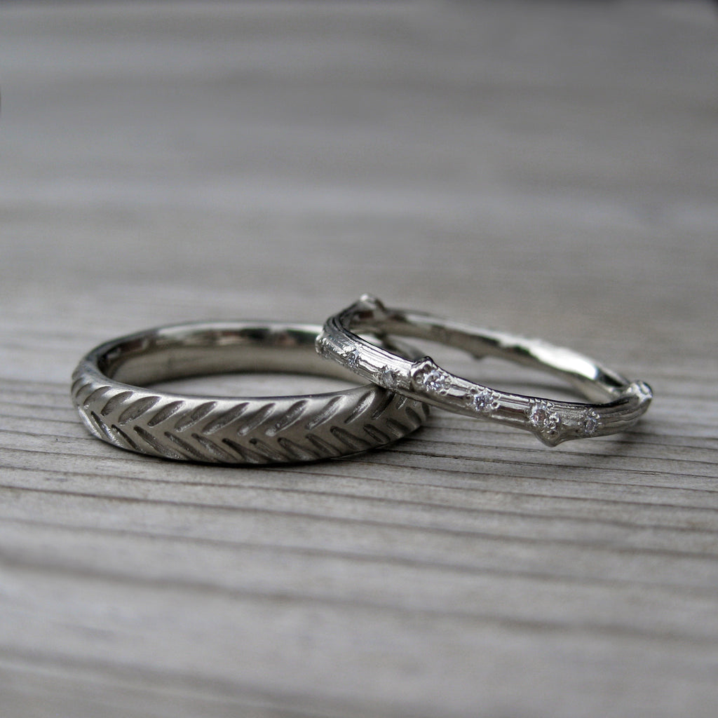Scattered 7 Diamond Twig + Feather Wedding Band