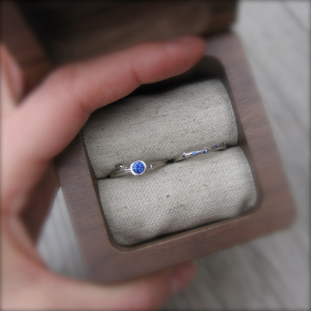 Scattered Blue Sapphire Eternity Twig Wedding Band (Eleven Sapphires)