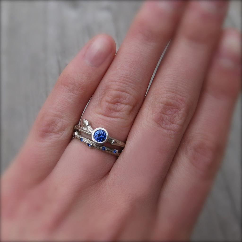 Scattered Sapphire Twig Band + Leaf Wedding Band