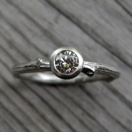 <center><strong>・ORCHID・</strong><br></center> Chocolate Diamond Twig Ring, .25ct