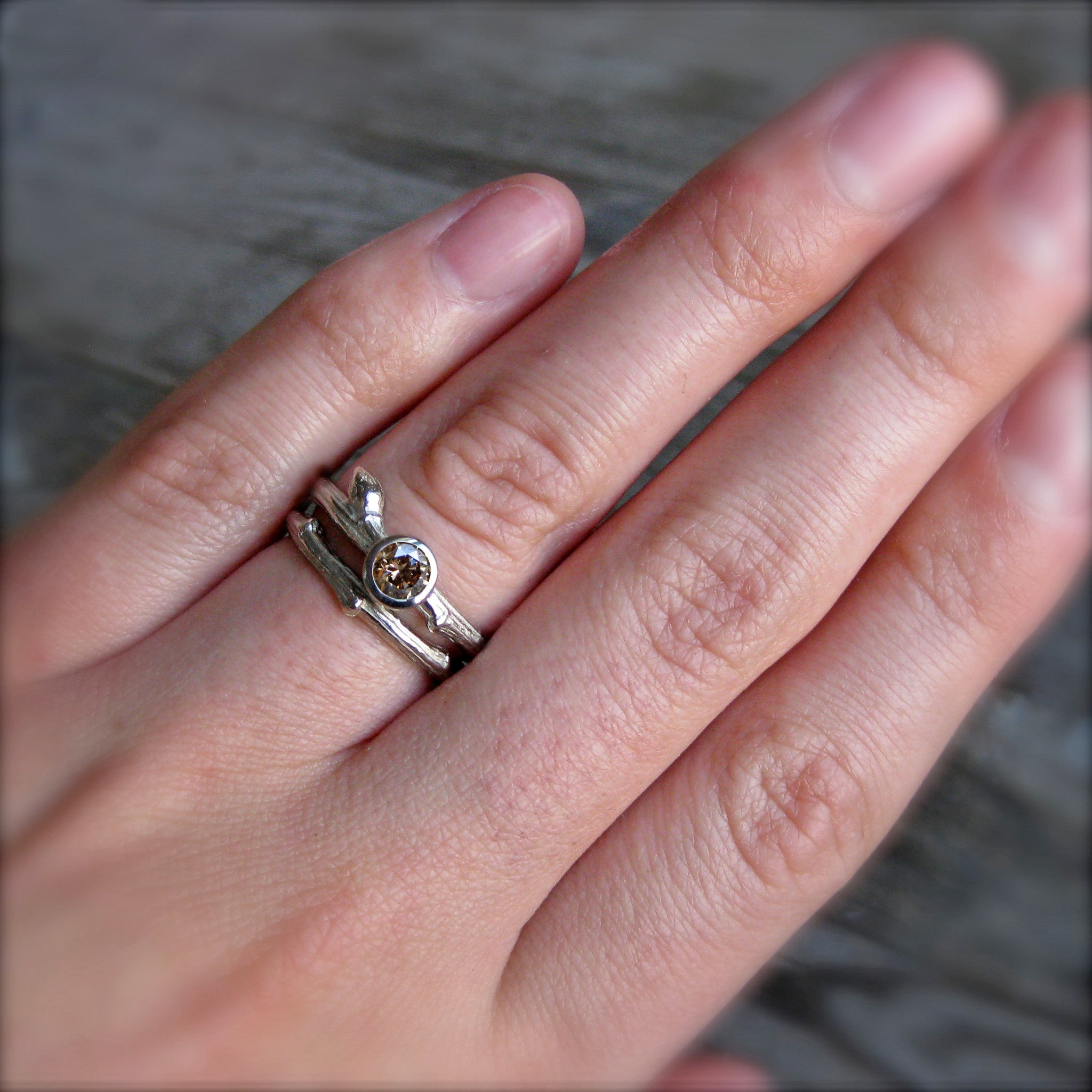 Chocolate Diamond Budding Twig Engagement Ring; .25ct - Kristin ...