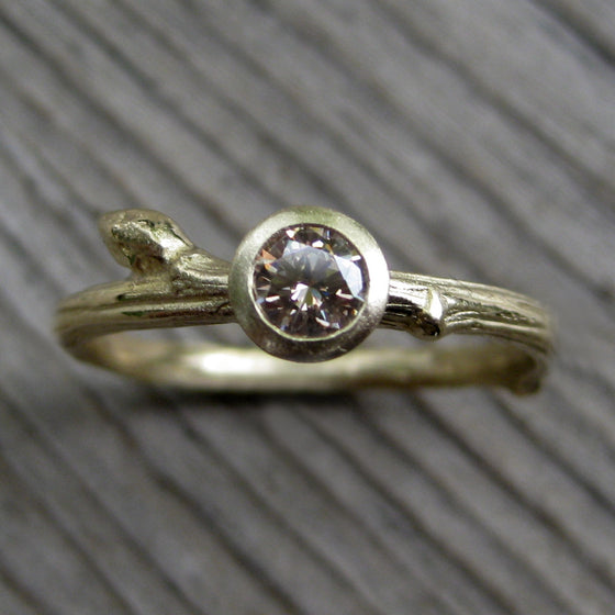 <center><strong>・ORCHID・</strong><br></center> Chocolate Diamond Twig Ring, Bud Accent, .25ct