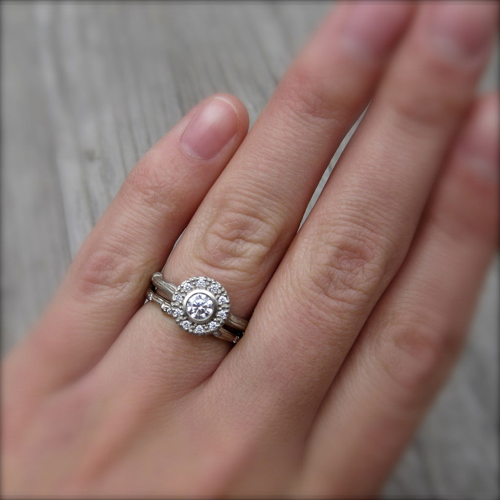 Diamond Halo Twig Engagement Ring (.25ct Center)