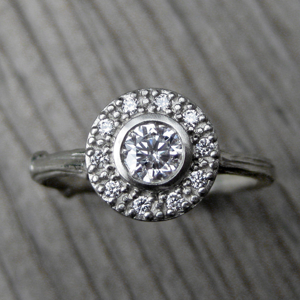 Round Forever One™ Moissanite Twig Halo Engagement Ring