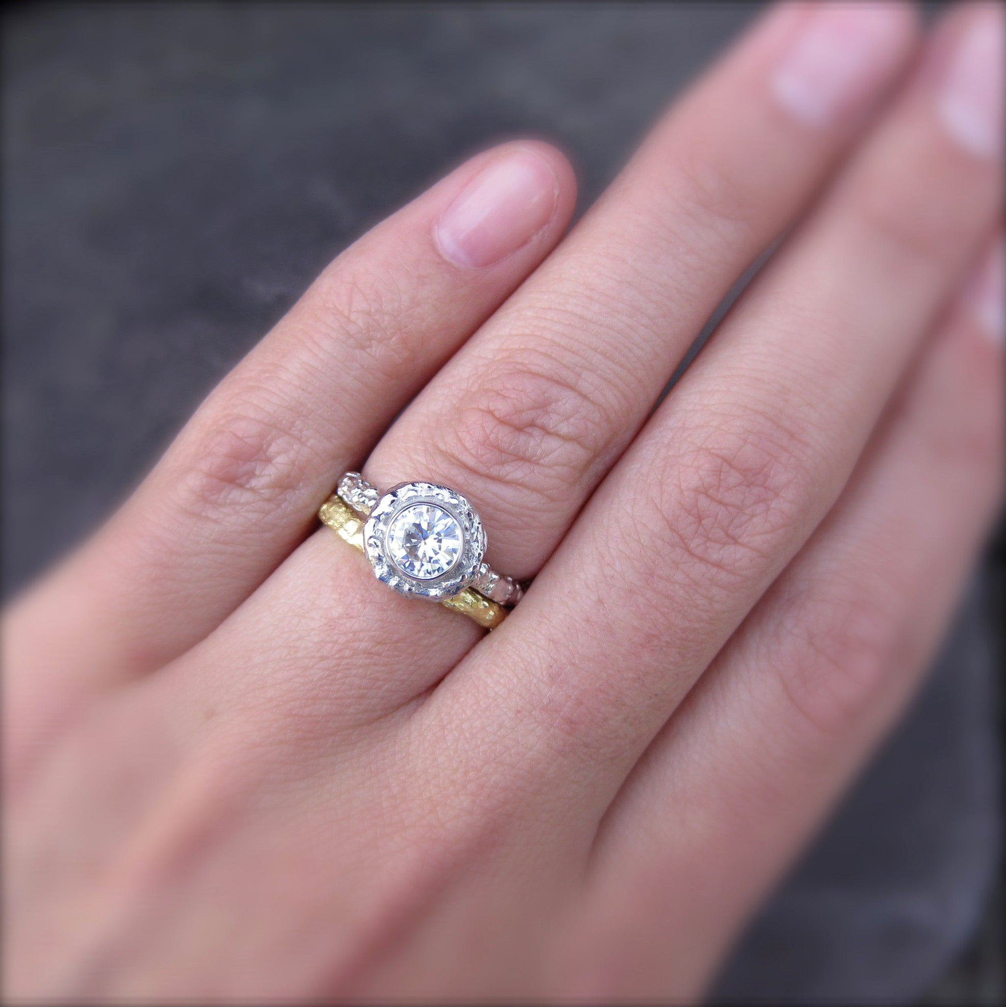 Diamond Twig Halo Engagement Ring; .50ct, VS1/G, Conflict Free, GIA ...