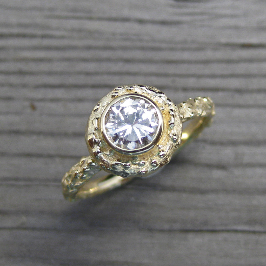 Round Diamond Twig Halo Engagement Ring, VS1/G (.50ct)