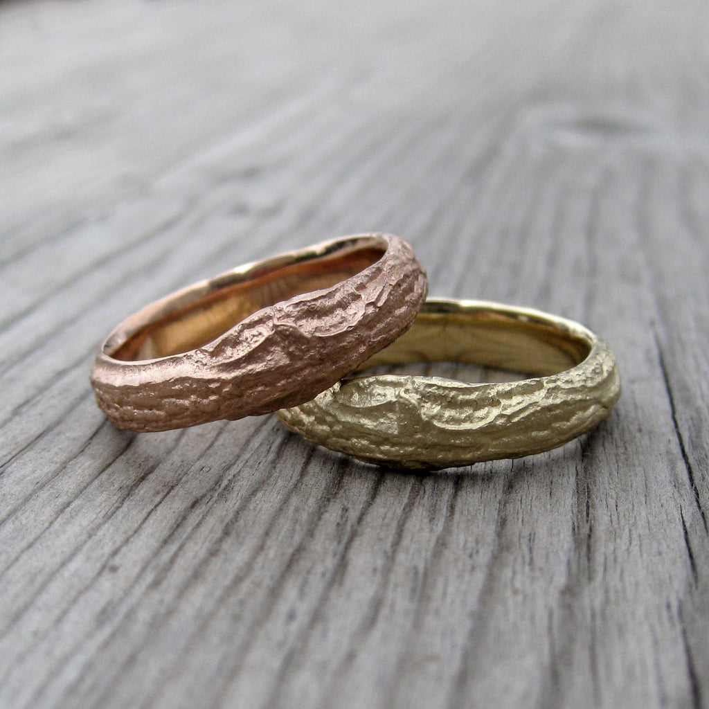 Wide Branch Wedding Band Set
