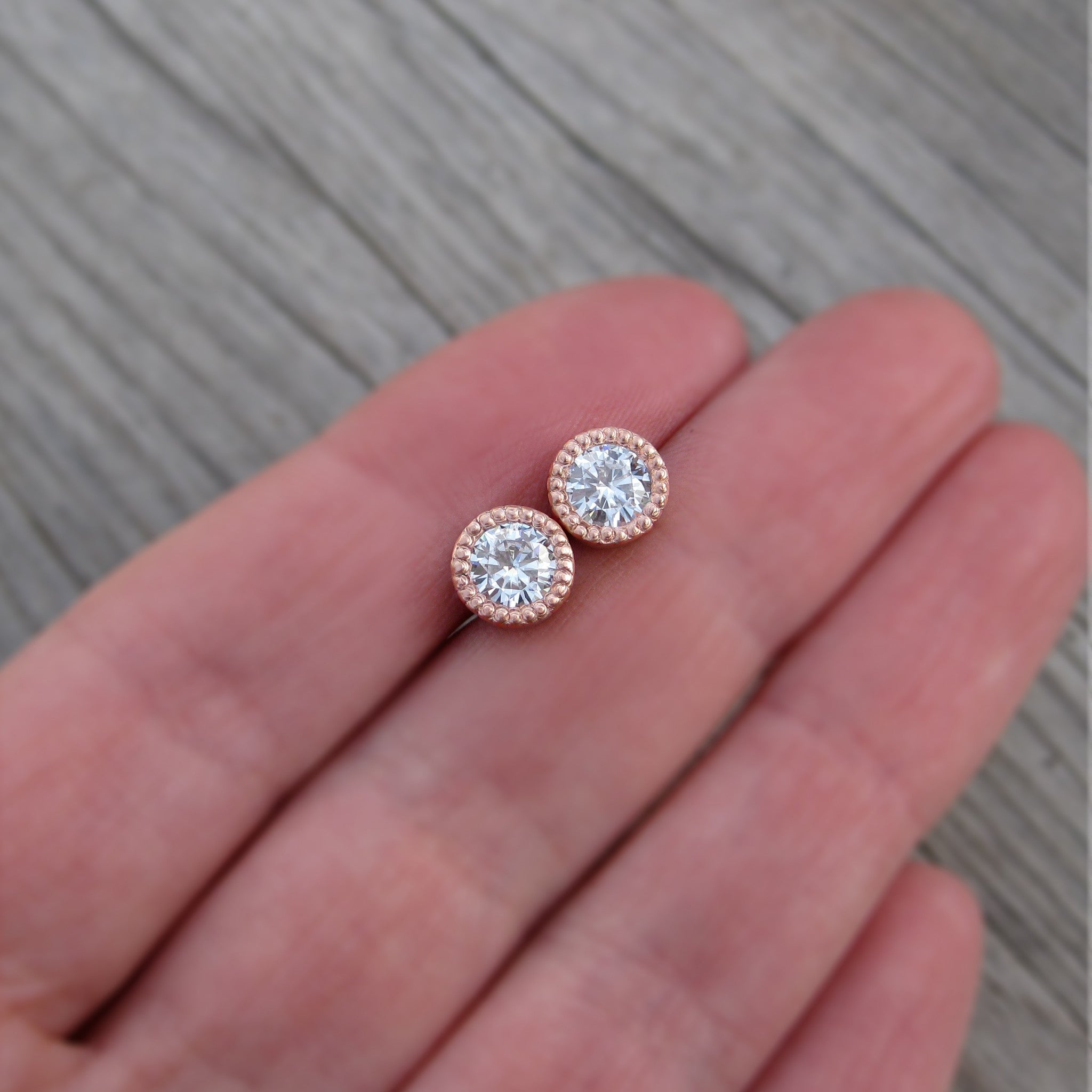 cushion earrings moissanite pink classic dew charles pin stud forever by