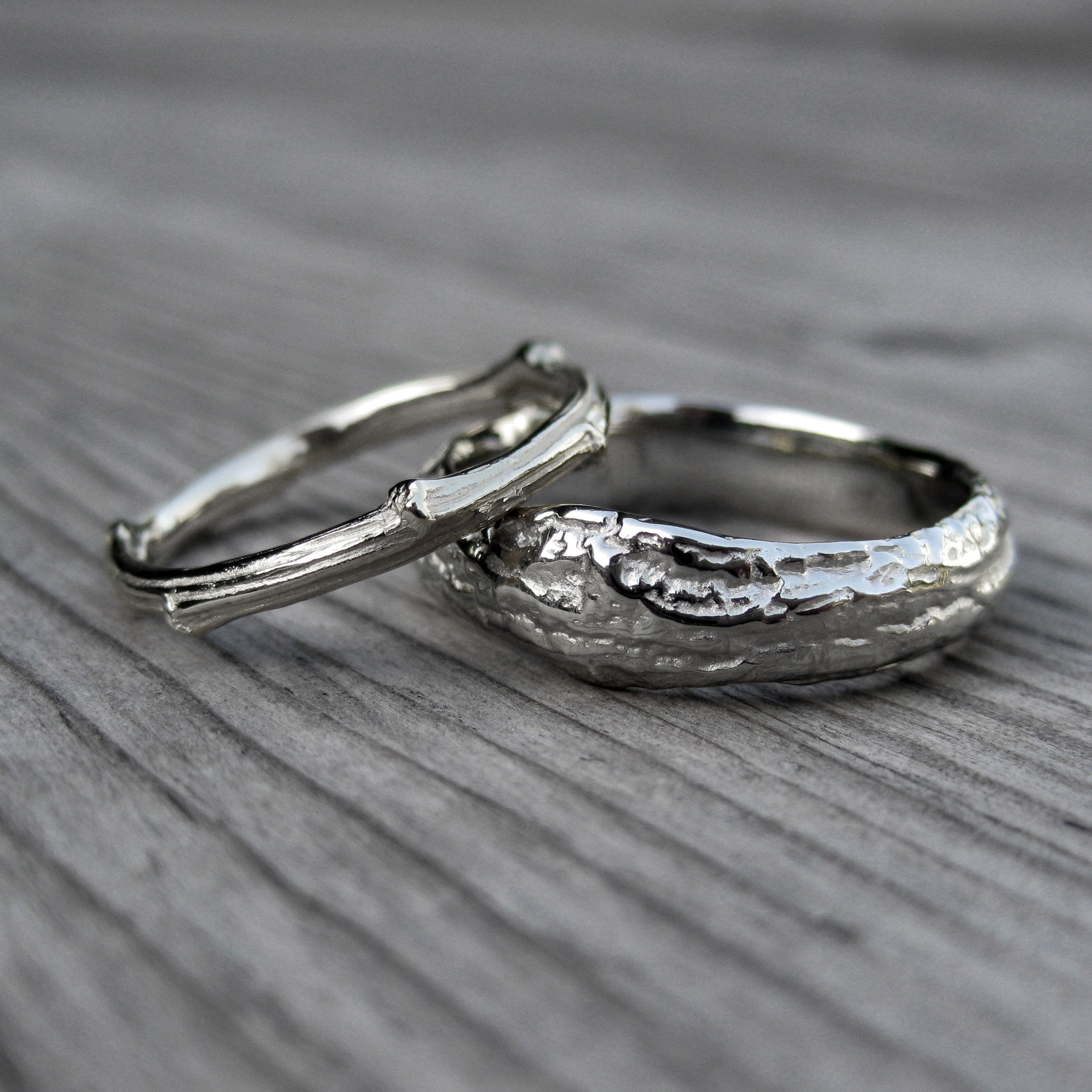 twig branch wedding band set kristin coffin jewelry - Wedding Ring And Band Set