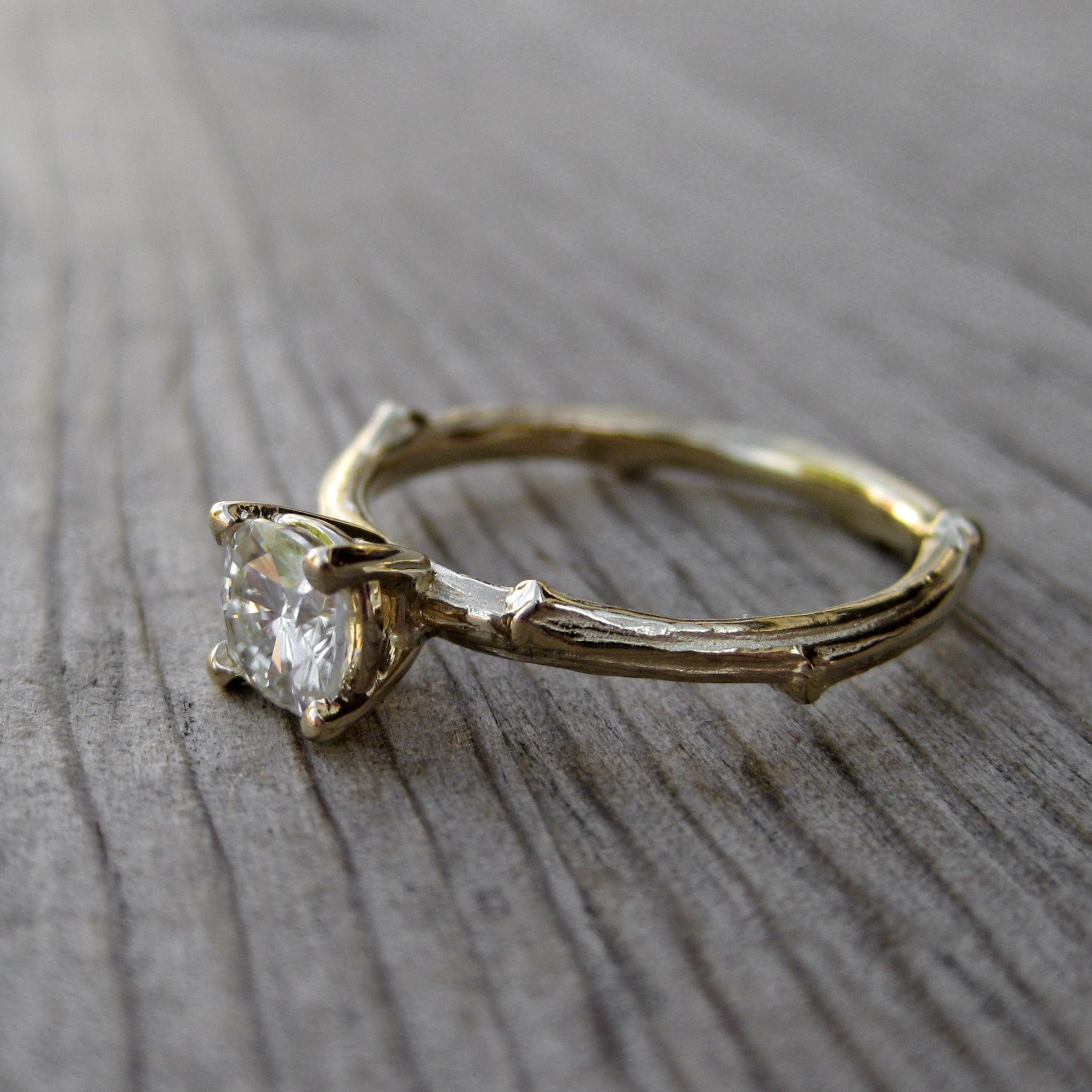 engagement rings pin setting carved twig grey ring dark floral moissanite