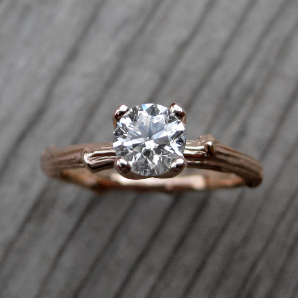 Round Diamond Twig Engagement Ring, Prong Setting (.50ct)